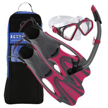 Aqualung 2020 Hawkeye Adult Snorkel Set - Pink/Grey