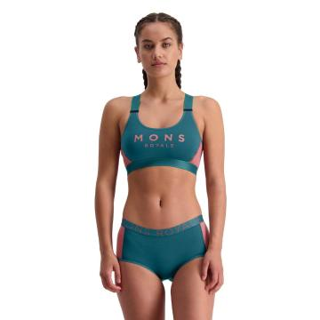 Mons Royale Women's  Stella X-Back Bra  - Deep Teal/Pink Clay