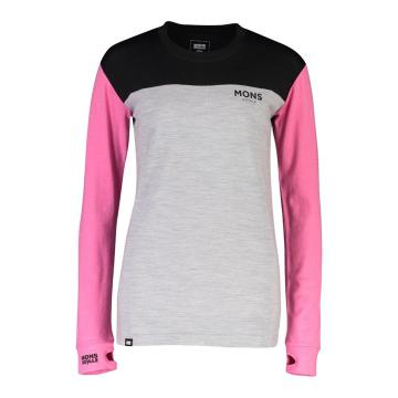 Mons Royale Women's Yotei BF Tech Long Sleeve - Pink/Black