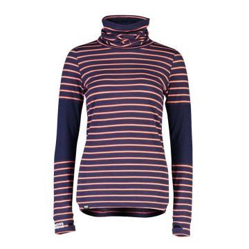 Mons Royale Women's Cornice Rollover Long Sleeve - Alpine Stripe