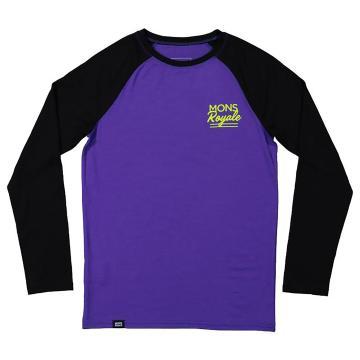 Mons Royale Boys Groms Long Sleeve - Purple/Black