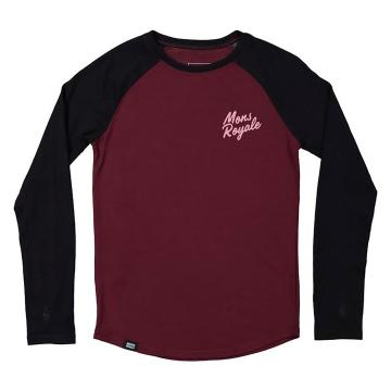 Mons Royale Girls Groms Long Sleeve - Pine/Black