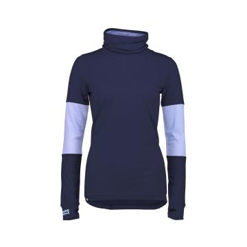 Mons Royale Women's Cornice Rollover Long Sleeve Top - Navy/BlueFog