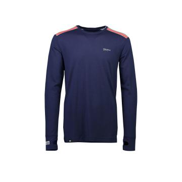 Mons Royale Men's Alta Tech Long Sleeve Crew Base Layer - Navy/Grey marl