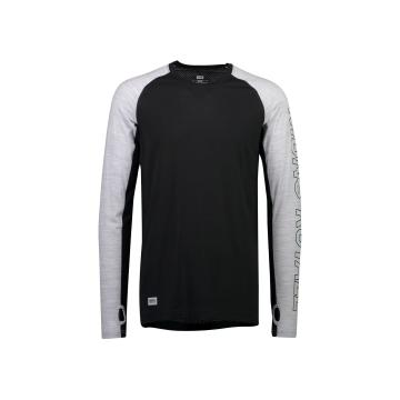 Mons Royale Men's Temple Tech Long Sleeve Base Layer - Black/Grey Marl