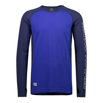 Mons Royale Men's Temple Tech Long Sleeve Base Layer - Nvy/Electric Blu