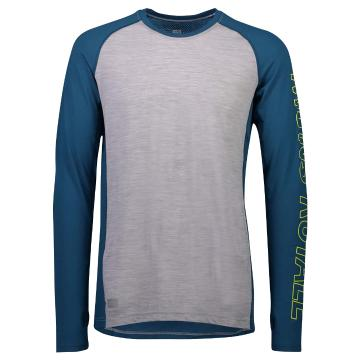 Mons Royale Men's Temple Tech Long Sleeve Base Layer - Oily Blue/Grey Marl