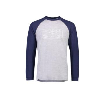 Mons Royale Men's Icon Raglan Long Sleeve Shirt - Navy/Grey marl