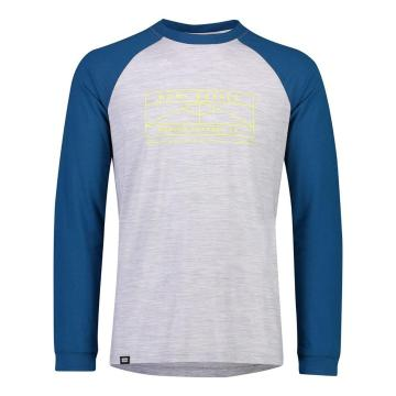 Mons Royale Mens ICON Raglan Long Sleeve - Oily Blue/Grey Marl