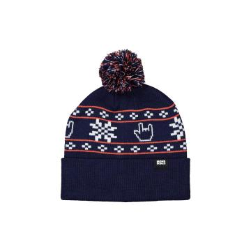 Mons Royale Unisex Pom-Pom Beanie - Navy/Orange Smash