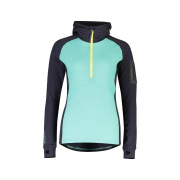 Mons Royale Women's Ascend Midi Half Zip Hood - Mint Edge