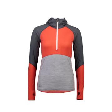 Mons Royale Women's Bella Tech Hood - Poppy/Char/Grey Marl