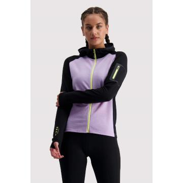 Mons Royale Women's Ascend Midi Full Zip Hood - Lilac/Black