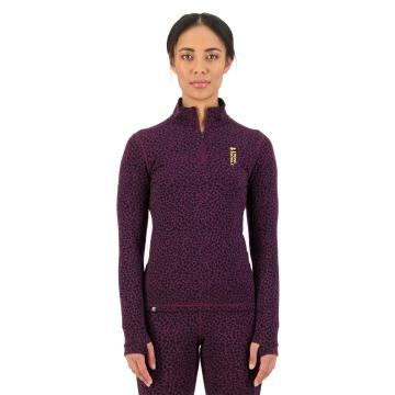 Mons Royale Women's Cascade Flex 200 1/4 Zip - Winter Leopard