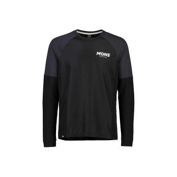 Mons Royale Men's Tarn Freeride Long Sleeve Wind Jersey - Black/9 Iron