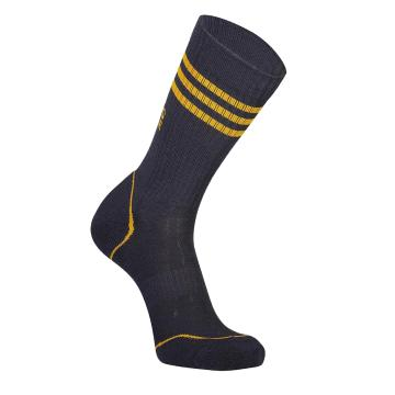 Mons Royale Men's Signature Crew Socks Stripe - 9 Iron/Gold