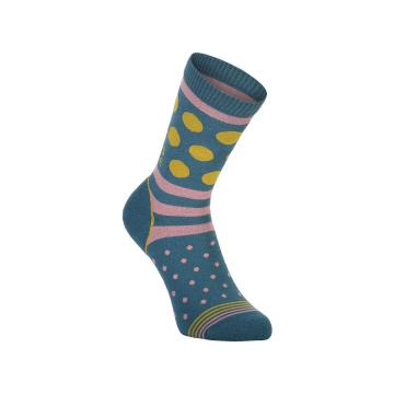 Mons Royale Women's All Rounder Crew Socks - Deep Teal/Pink Clay/Honey