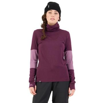 Mons Royale Women's Cornice Rollover Long Sleeve - Wine/Mauve