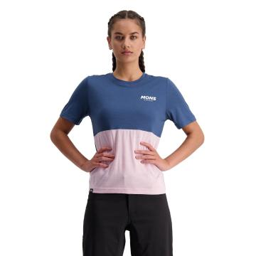 Mons Royale Women's Tarn Freeride Tee - Dark Denim/Powder Pink