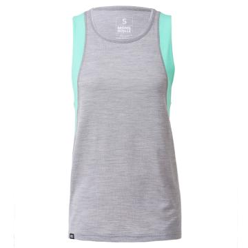 Mons Royale Women's Merino Kasey Relaxed Mesh Tank - Grey Marl/Pmint