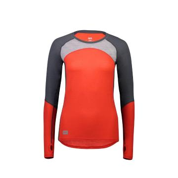 Mons Royale Women's Bella Tech Long Sleeve - Poppy/Char/Grey Marl
