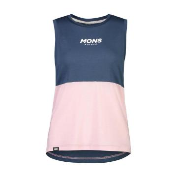 Mons Royale Women's Tarn Freeride Tank - Dark Denim/Powder Pink