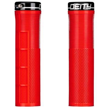 Deity Knuckleduster Lock-On Grips - Red / Black