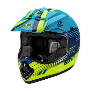 EVS Youth T3 Works Helmet - ECE - Blue/Hi Viz Yellow
