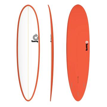 Torq 7ft 6in Fun Surfboard - Red/Pinline
