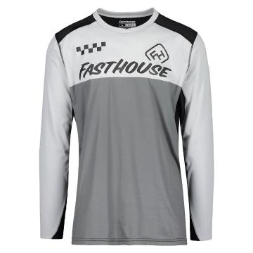 Fasthouse Alloy Stripe Long Sleeve MTB Jersey - Silver/Charcoal