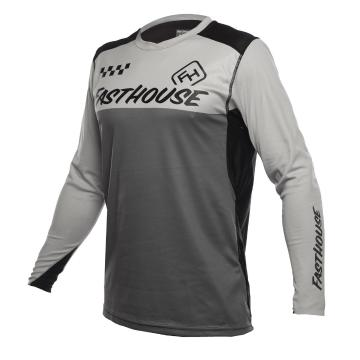 Fasthouse Alloy Block Long Sleeve Youth MTB Jersey - Silver/Charcoal