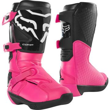 Fox Youth Comp Boots - Black/Pink