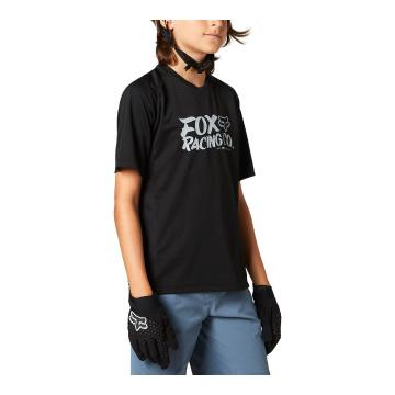 Fox Youth Defend Short Sleeve Jersey - Black