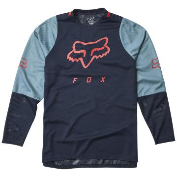 Fox Youth Defend Long Sleeve Jersey - Navy