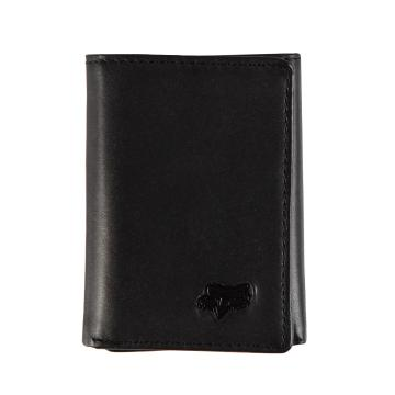 Fox Trifold Leather Wallet Black