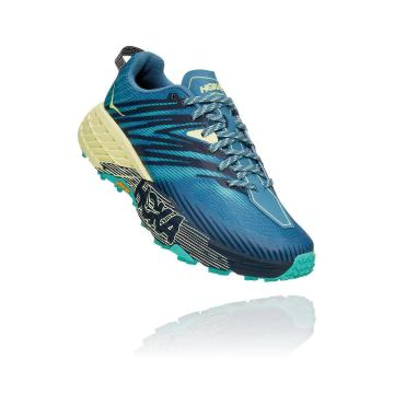 HOKA ONE ONE Women's Speedgoat 4 Shoes - Provincial Blue/Luminary Green