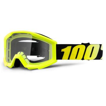 Ride 100% Strata Youth Moto Goggle - Neon Yellow/Clear Lens