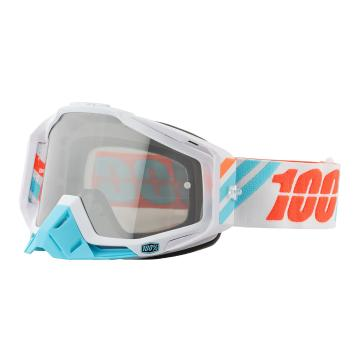 Ride 100% Racecraft Moto Goggles - Spare Lens and Tear-offs - Calculus Ice/Mirror Silver Len