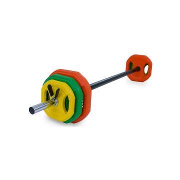 Olympus Pump Set 20kg Colour Rubber Plates + Collars