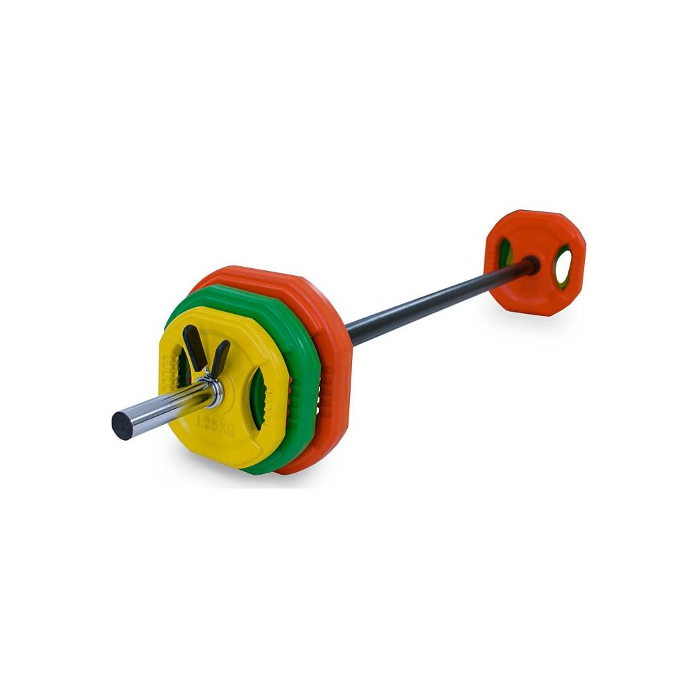 Pump Set 20kg Colour Rubber Plates + Collars
