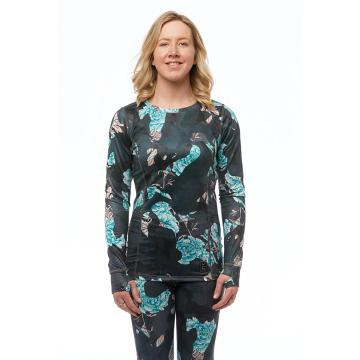 Rojo   Wmns Crew Neck Top - Floral Camo Blue Nights