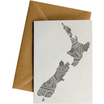 Little Difference NZ Map Pattern Gift Card