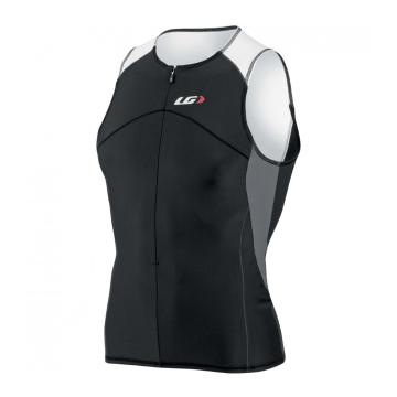 Louis Garneau Comp Sleeveless Triathlon Cycle Jersey - Black/Iron Grey