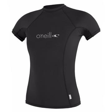 O'Neill Women's Basic Skins Short Sleeve Crew Rash Top - Black