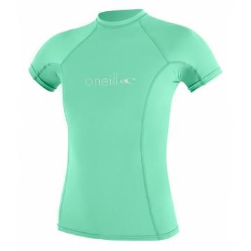 O'Neill Women's Basic Skins Short Sleeve Crew Rash Top - Seaglass