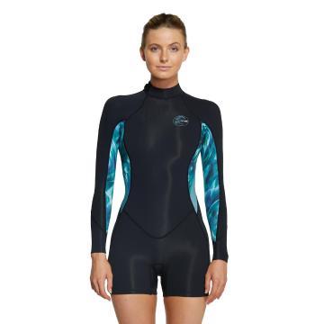 O'Neill 2021 Women's Bahia 2mm Long Sleeve Spring Suit  - Black/Aqua