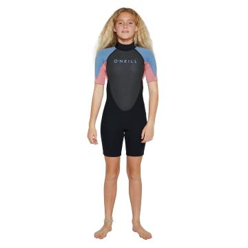 O'Neill 2021 Youth Reactor II Short Sleeve Spring - Black/Pink/Blue