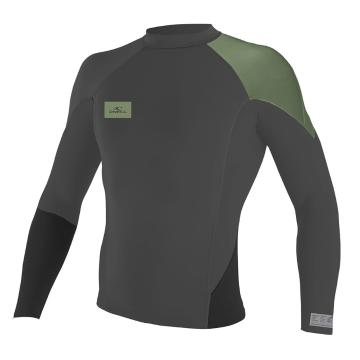O'Neill Men's Superfreak 1mm Long Sleeve Crew Wetsuit Top - Graph/Black/LT Olive