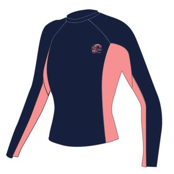 O'Neill Womens Skins Long Sleeve  Crew - Navy/LTGF