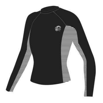 O'Neill Womens Skins Long Sleeve  Crew - Bkst Black/Stripe